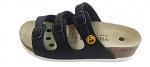 VITAFORM - 3530/SCHWARZ/36 SOHLE WEIß - ESD sandals with 3 straps, full cowhide, women, black, size 36, WL43843