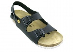 VITAFORM - 3620/SCHWARZ/36 SOHLE WEIß - ESD Sandals Full Cow Leather / Heel Strap, black-white, 36, WL35781