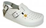 VITAFORM - 3593/WEISS/36 - ESD Clog fullgrain cowhide/Height of heel 3 cm/Perforation, white, 36, WL21605