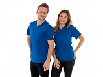 SAFEGUARD - SafeGuard PRO - ESD T-Shirt V-neck blue, breast pocket, 150g/m², XS, WL44677