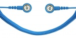 SAFEGUARD - SAFEGUARD ESD PRO - ESD Spiralkabel, 2 MOhm, hellblau, 1,8 m, 10/10 mm Druckknopf, WL42080