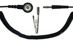 SAFEGUARD - SAFEGUARD ESD - ESD Spiralkabel, 1 Mohm, schwarz, 1,8 m,  10 mm Druckknopf, Bananenstecker, WL32801