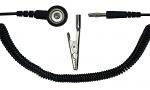 SAFEGUARD - SAFEGUARD ESD - ESD spiral cable, 1 Mohm, black, 1,8 m, 10 mm push button, banana plug, WL32801