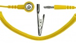 SAFEGUARD - SAFEGUARD ESD - ESD spiral cable, 1 Mohm, yellow, 2,4 m, 10 mm push button, banana plug, crocodile clip, WL42103