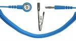 SAFEGUARD - SAFEGUARD ESD - ESD spiral cable, 1 Mohm, light blue, 2,4 m, 10 mm snap fastener, banana plug, crocodile clip, WL20500