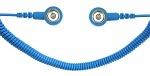 SAFEGUARD - SAFEGUARD ESD - ESD Spiralkabel, 1 Mohm, hellblau, 1,8 m, 10/10 mm Druckknopf, WL42061
