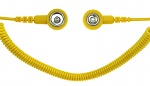 SAFEGUARD - SAFEGUARD ESD PRO - ESD spiral cable, 2 MOhm, yellow, 2.4 m, 7/10 mm push button, WL42085
