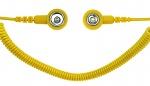 SAFEGUARD - SAFEGUARD ESD PRO - ESD Spiralkabel, 2 MOhm, gelb, 2,4 m, 7/10 mm Druckknopf, WL42085