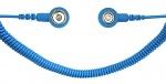 SAFEGUARD - SAFEGUARD ESD PRO - ESD spiral cable, 2 MOhm, light blue, 2.4 m, 7/10 mm push button, WL27735