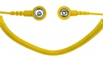 SAFEGUARD - SAFEGUARD ESD - ESD spiral cable, 1 Mohm, yellow, 2,4 m, 3/10 mm push button, WL42065