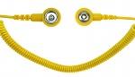 SAFEGUARD - SAFEGUARD ESD - ESD Spiralkabel, 1 Mohm, gelb, 2,4 m, 3/10 mm Druckknopf, WL42065