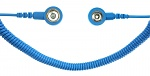 SAFEGUARD - SAFEGUARD ESD - ESD spiral cable, 1 Mohm, light blue, 2,4 m, 10/10 mm push button, WL42063