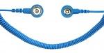SAFEGUARD - SAFEGUARD ESD - ESD Spiralkabel, 1 Mohm, hellblau, 2,4 m, 10/10 mm Druckknopf, WL42063