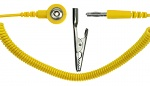 SAFEGUARD - SAFEGUARD ESD - ESD Spiralkabel, 1 Mohm, gelb, 2,4 m, Bananenstecker, Krokodilklemme, 3 mm Druckknopf, WL42070
