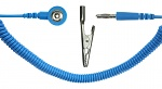 SAFEGUARD - SAFEGUARD ESD - ESD Spiralkabel, 1 MOhm, hellblau, 2,4 m, 3 mm Druckknopf, Bananenstecker, Krokodilklemme, WL19532