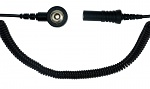 SAFEGUARD - 30-560-0614 - ESD spiral cable, 1 Mohm, black, 1,8 m, 3 mm snap fastener, banana plug socket, WL26208