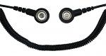 SAFEGUARD - SAFEGUARD ESD PRO - ESD spiral cable, 2 MOhm, black, 1,8 m, 7/10 mm push button, WL42079