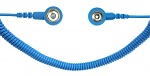 SAFEGUARD - SAFEGUARD ESD PRO - ESD spiral cable, 2 MOhm, light blue, 2.4 m, 3/10 mm snap fastener, WL19533