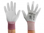 SAFEGUARD - SG-grey-JCA-302-XS - ESD glove grey/berry, coated palms, nylon/carbon, XS, WL39620