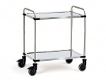 FETRA - 5001 - Stainless steel trolley, 2 shelves, pipe pusher, 120 kg, 800 x 500 mm, WL39833