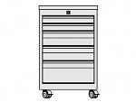 KARL - 33.310.34 - ESD drawer block FO Sintro mobile, 2x1HE/2x2HE/1x3HE, lid ESD laminate, 670x540x606mm, WL41337