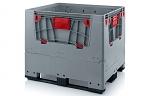 KLK 1210K - Klappbare ESD-Bigbox mit 4 Eingriffsklappen, 3 Längskufen, grau, 1200 x 1000x 1000 mm, WL45536