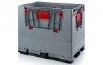 KLK 1208K - Klappbare ESD-Bigbox mit 4 Eingriffsklappen, 3 Längskufen, grau, 1200 x 800x 1000 mm, WL45535