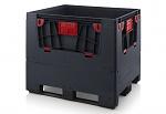 ESD KLK 1210K - Klappbare ESD-Bigbox mit 4 Eingriffsklappen, 3 Längskufen, , schwarz, 1200x1000x1000 mm, WL45856