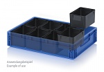 ESD EK 8/100 - ESD insert box, 8-part pitch, for ESD Euro container 60 x 40 cm, 183 x 141 x 100 mm, WL41580