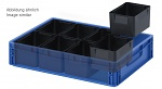 ESD EK 8/50 - ESD insert box, 8-part pitch, for ESD Euro container 60 x 40 cm, 183 x 141 x 50 mm, WL34647