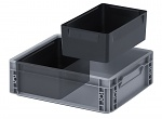 ESD EK 2/100 43 - ESD insert box, 2-part horizontal division, for ESD Euro container 40 x 30 cm, 266 x 184 x 100 mm, WL28632