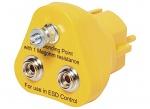 SAFEGUARD - SAFEGUARD ESD - ESD earthing plug, 2 x 10 mm push button, yellow, WL32123