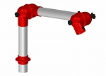 ALSIDENT - 50-27-1-4 - Suction arm system DN50 2 joints, 445 mm, red - Table mounting, WL20600