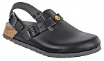 BIRKENSTOCK - 061408-36 - ESD Clogs TOKIO with heel strap, narrow, natural leather, black, size 36, WL33227
