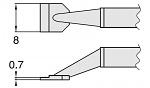 HAKKO - T8-1006 - Desoldering tip pair for desoldering tweezers FM2022, 0.7 x 8 mm, WL23410