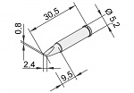 ERSA - 0102CDLF24/10 - Soldering tip for i-Tool, straight, chisel-shaped, 2.4 mm, WL22885