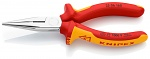 KNIPEX - 25 06 160 - Flat nose pliers with cutting edge (radio pliers), chrome-plated VDE 160 mm, WL33537