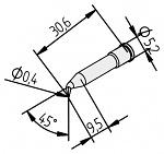 ERSA - 0102SDLF04/10 - Soldering tip for i-Tool, bent, pencil tip, 0,4mm, WL23736
