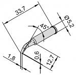 ERSA - 0102SDLF18/10 - Soldering tip for i-Tool, curved, chisel-shaped, 1.8 mm, WL24149