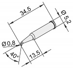 ERSA - 0102SDLF08L/10 - Soldering tip for i-Tool, extended, curved, pencil tip, 0.8 mm, WL23380