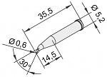ERSA - 0102SDLF06L/10 - Soldering tip for i-Tool, extended, curved, pencil, 0.6 mm, WL23374