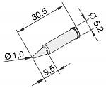ERSA - 0102PDLF10/10 - Soldering tip for i-Tool, straight, pencil tip, 1mm, WL22891