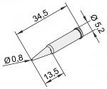 ERSA - 0102PDLF08L/10 - Soldering tip for i-Tool, straight, pencil tip, 0,8mm, extended, WL23373