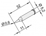 ERSA - 0102PDLF06L/10 - Soldering tip for i-Tool, straight, pencil point, 0.6 mm, extended, WL23378