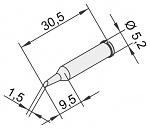 ERSA - 0102ADLF15/10 - Soldering tip for i-Tool, straight, bevelled, 1.5 mm, WL23382