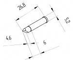 ERSA - 0102CDLF46A/SB - High-performance soldering tip for i-Tool, straight, chisel-shaped, asymmetrical 4.6 mm, WL42205