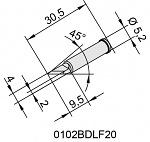 ERSA - 0102BDLF20/SB - Soldering Tip for i-Tool, straight, PLCC Knife, 2 mm, WL36752