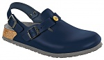 BIRKENSTOCK - 061398-37 - ESD Clogs TOKIO with heel strap, narrow, natural leather, blue, size 37, WL40093