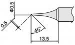 HAKKO - T18-C05 - Soldering tip series T18, D: 0,5 mm, 45° bevel, WL33844