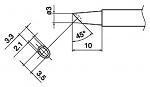 HAKKO - T17-BCM3 - T17 series soldering tip with recess, 3 x 3.5 mm, 45° bevel, WL44847